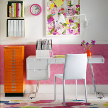storage ideas for home office. Pink And Orange Home Office With Sleek White Desk Storage Ideas For