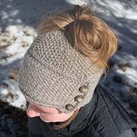 Ponytail Hat Knitting Pattern Extraordinary Ava Messy BunPonytail Hat Knitting Pattern KnotEnufKnitting