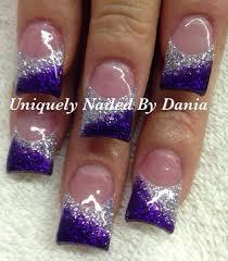 Acrylic Nail Designs Purple Purple And Silver Nail Art Purple Nail Designs Purple