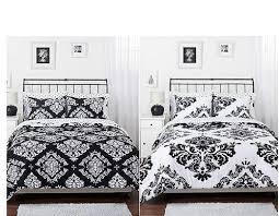 Black  Black White Damask Reversible Comforter Bed Set