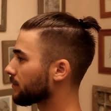 a side view picture of the topknot undercut in a man with a beard