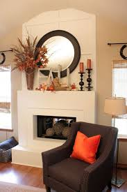 Fall fireplace decorating idea 2 - with mirror and candles