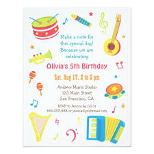 Kids Invitations Colourful Music Instruments Kids Birthday Party Invitation Zazzle Com