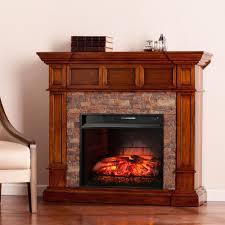 w faux stone corner infrared electric fireplace in buckeye oak
