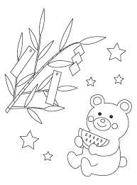 無料の七夕の短冊とクマのぬりえ ぬりえパーク