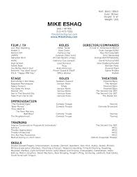 Sample Of Acting Resume
