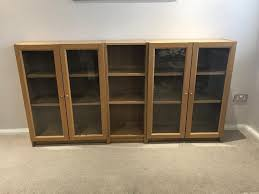 ikea billy bookcases as sideboard set x 3 with glass doors