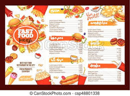 Restaurant Menu Template Fast Food Restaurant Menu Brochure Template Design