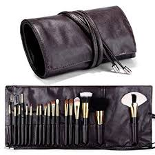 travelmall makeup brush rolling case pouch holder cosmetic bag organizer travel portable 18 pockets cosmetics brushes