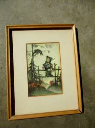 vintage 1950s little boy and crow framed print vintage art old frames 50s on wall art old picture frames with vintage 1950s little boy and crow framed print vintage art old