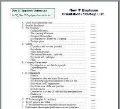 Staff Orientation Checklist New Hire Orientation Checklist Template New Hire Employee Forms