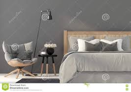 Graues Schlafzimmer Mit Einem Hölzernen Bett Stock Abbildung
