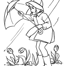spring pictures to color. Delighful Spring A Girl With An Umbrella In The Rain Throughout Spring Pictures To Color A
