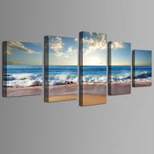 5 panel beach wall art