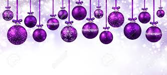 Purple Balls For Decoration Interesting New Year White Banner With Purple Christmas Balls Vector
