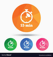 15 Min Timer Timer Sign Icon 15 Minutes Stopwatch Symbol