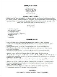 Field Technician Resume Sample Ksdharshan Co