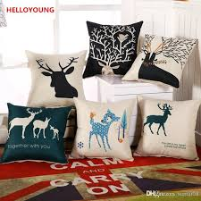 bz059 luxury cushion cover pillow case home textiles supplies lumbar pillow deer head decorative throw pillows chair seat outdoor patio cushion covers