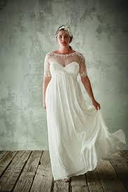 plus size bridal fashion plus size wedding dresses with half sleeves sheer jewel neck