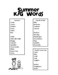 Summer Word List Articulation Word List Summer Edition Sample K G By Little
