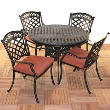 comfortcare 5 piece metal outdoor dining set with 48 round table