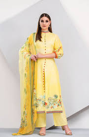 Cutwork Embroidery Designs Suits Floral Printed Cotton Yellow And Green Salwar Suit With Cut