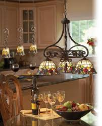 splendid island kitchen lighting fixtures from wrought iron material with vintage stained glass hanging lamp shade