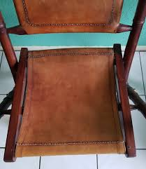 officers chair with cognac color leather seat 1