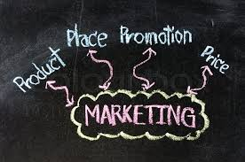 Blackboard Chart Price Business Marketing 4p Flow Chart On A Stock Image