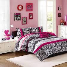 teen girl bedding set twin animal print pink black white bed comforter cover