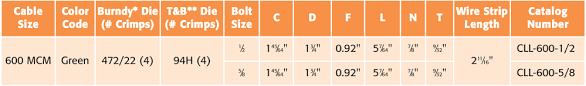 Burndy Crimp Die Size Chart One Hole Copper Compression Terminal Lug Long Barrel 600