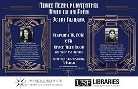 usf humanities institute a joint poetry reading aimee nezhukumatathil and matt de la pena