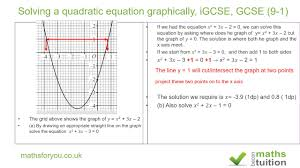 solving quadratic equations graphically igcse gcse 9 1