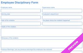 Employee Disciplinary Form Template Free Download