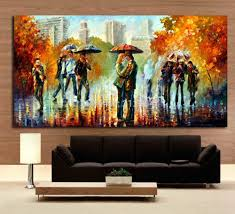 2018 rainy embrace in the street romantic lover modern palette knite oil painting canvas print art for home office cafe wall decor from asenart