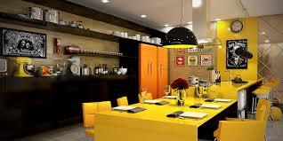 Orange And Yellow Kitchen Hardwood Floor Dining Chair Grey Sofa Yellow Cabinet Chandeliers