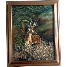 donna harris deer buck in a forest oil painting on canvas signed by gumgumfuninthesun ruby lane