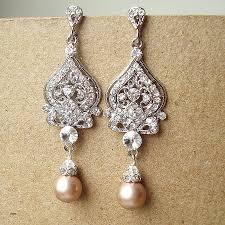 wedding pearl earrings inspirational champagne bridal wedding earrings silver filigree chandelier bridal