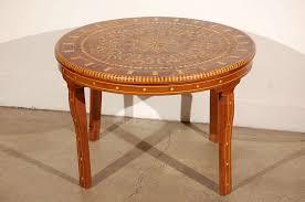 handcrafted round moroccan inlaid coffee table cedar wood inlaid with various fruitwood parquetry and mother