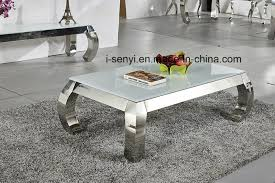 china modern alternative tempered glass top imitated wood top stainless steel coffee table china home furniture hotel furniture