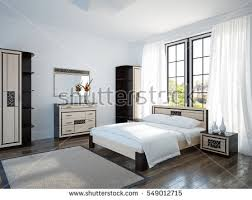 spacious and bright bedroom with large window wooden furniture 3d illustration furniture76 furniture