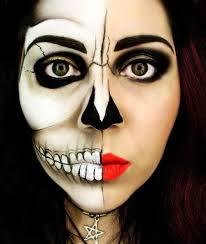 awesome skull makeup creepy makeup double skull makeup half face