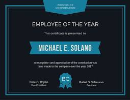 Recognition Awards Certificates Template Employee Of The Year Award Certificate Templates By Canva
