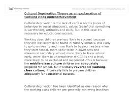 cultural deprivation theory a level sociology marked by  document image preview