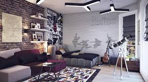 Bedroom : Mesmerizing Wonderful White Purple Sofa Plus Shelves Idea On The  Wall Awesome Brick Stone Wall Ideas For Bedroom Teenager With Gray Bed  Frame Also ...