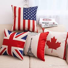 Pillow Case Home Print American Flag British Flag Throw Sofa