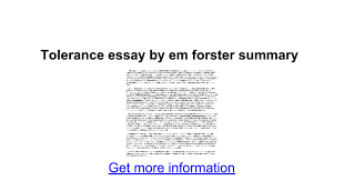 tolerance essay by em forster summary google docs
