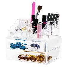 clear lipstick and makeup organizer 2 drawers acrylic displays acrylic pop displays