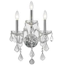 worldwide lighting 13 in w 3 light chrome crystal candle wall sconce