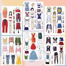 Búp bê giấy thay đồ thời trang đồ chơi cắt thủ công cho bé Combo 6 hình  siêu đáng yêu 008